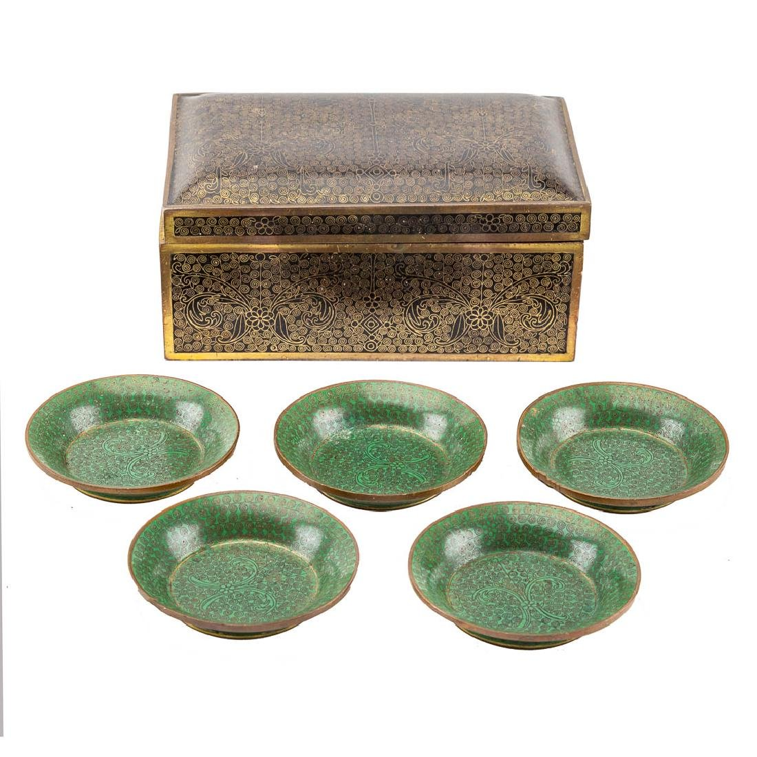 Chinese cloisonne cigarette box/5 small dishes