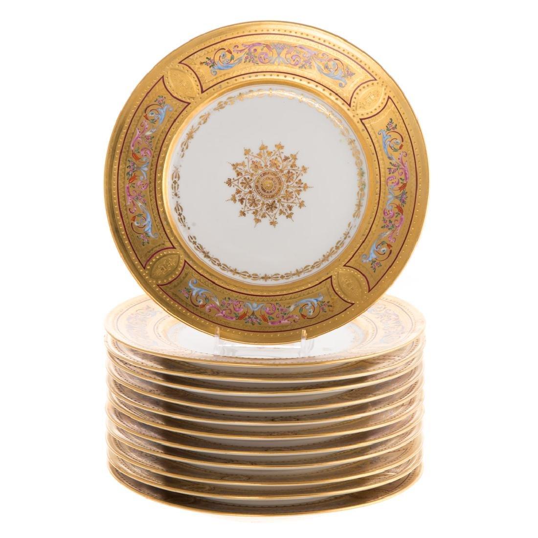 12 Vienna porcelain gilt & enamel decorated plates