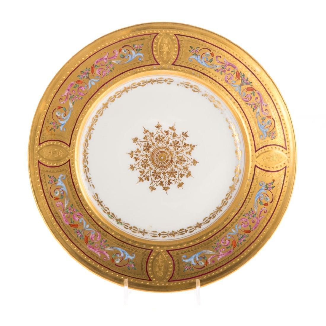 12 Vienna porcelain gilt & enamel decorated plates - 2