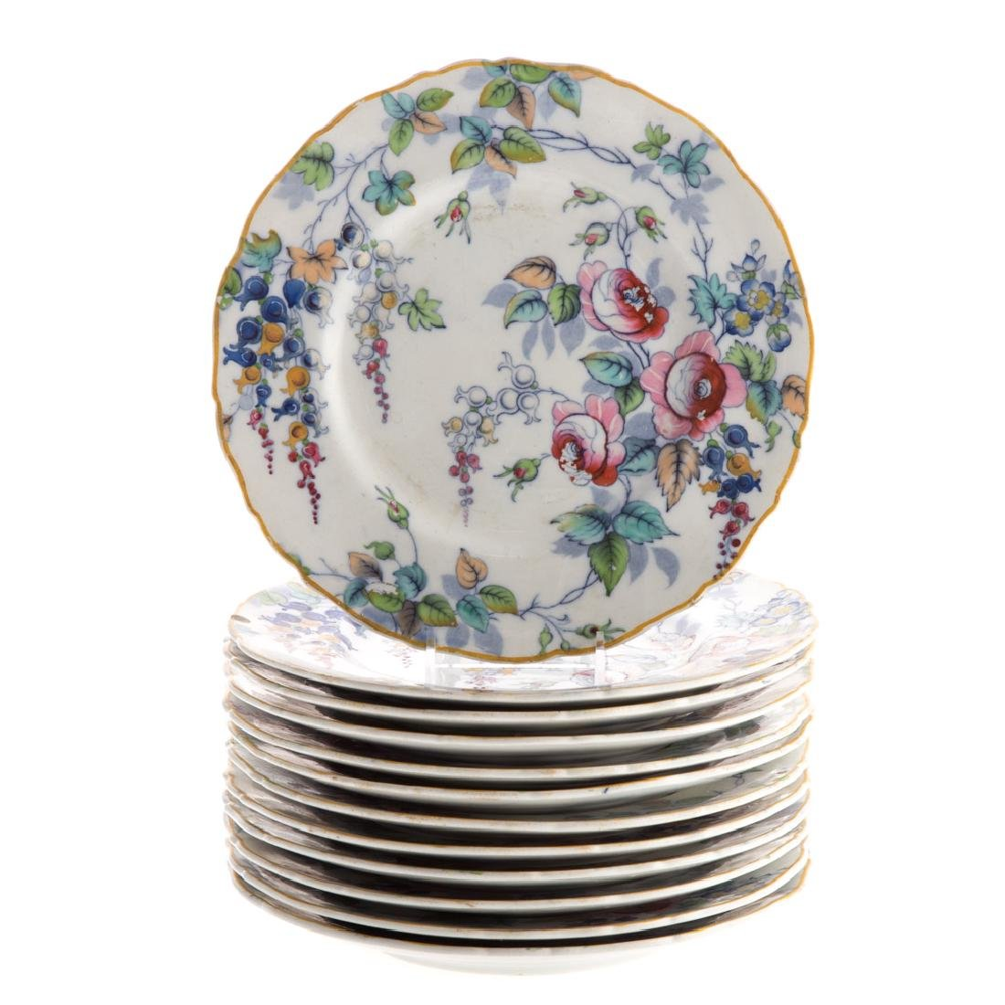 12 Staffordshire floral transfer plates