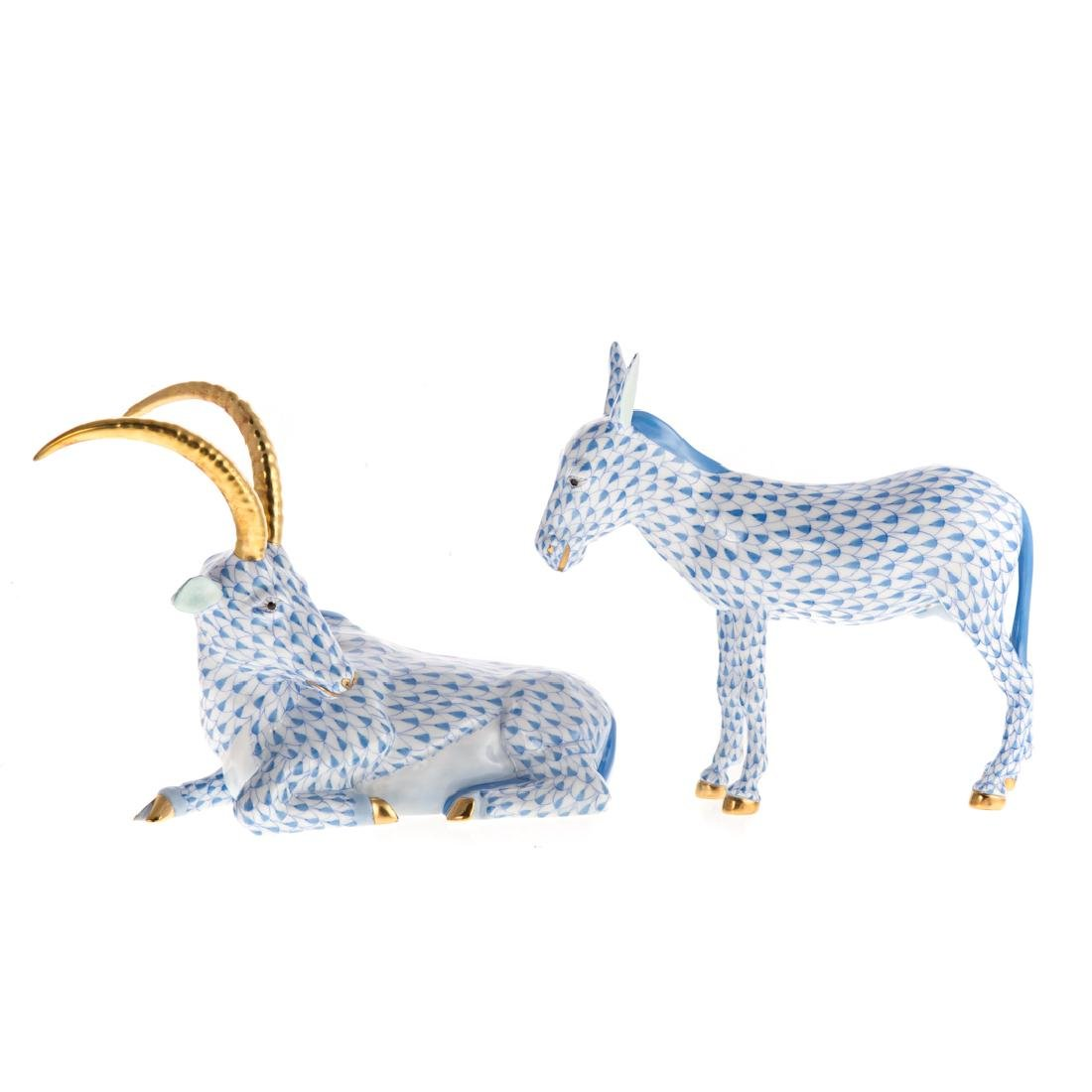 Two large Herend porcelain animals