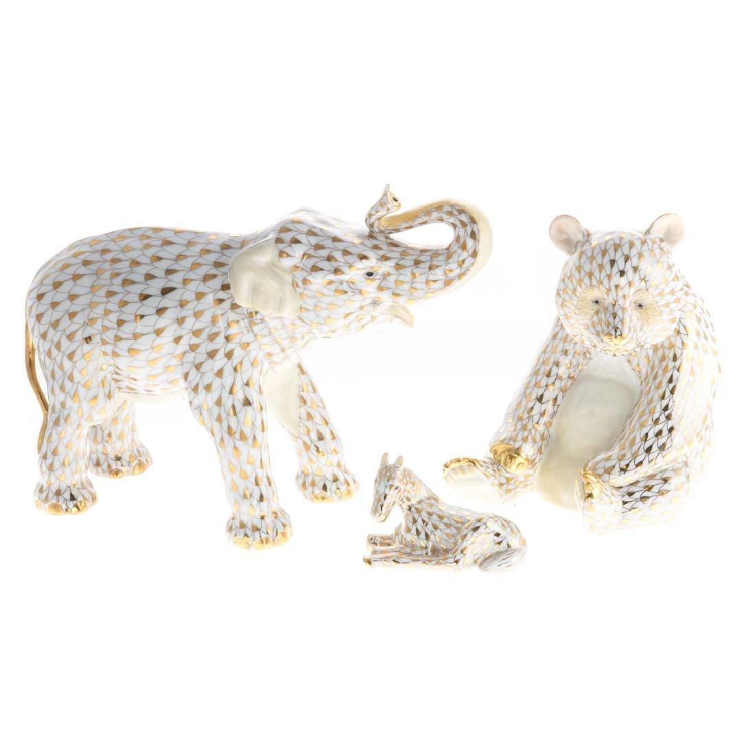 Three Herend porcelain Gold Fishnet animals