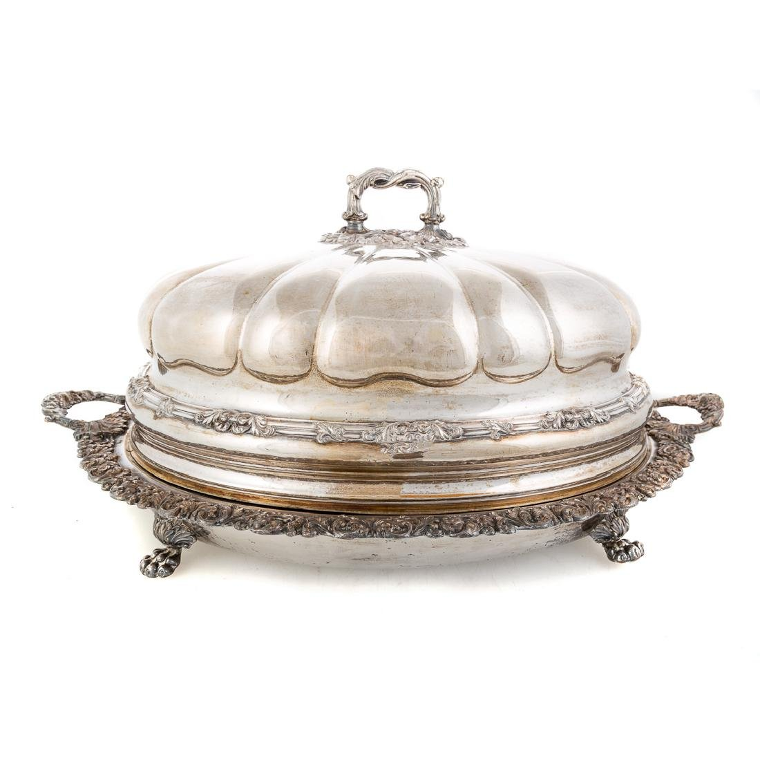 Georgian style large hot water platter with cover