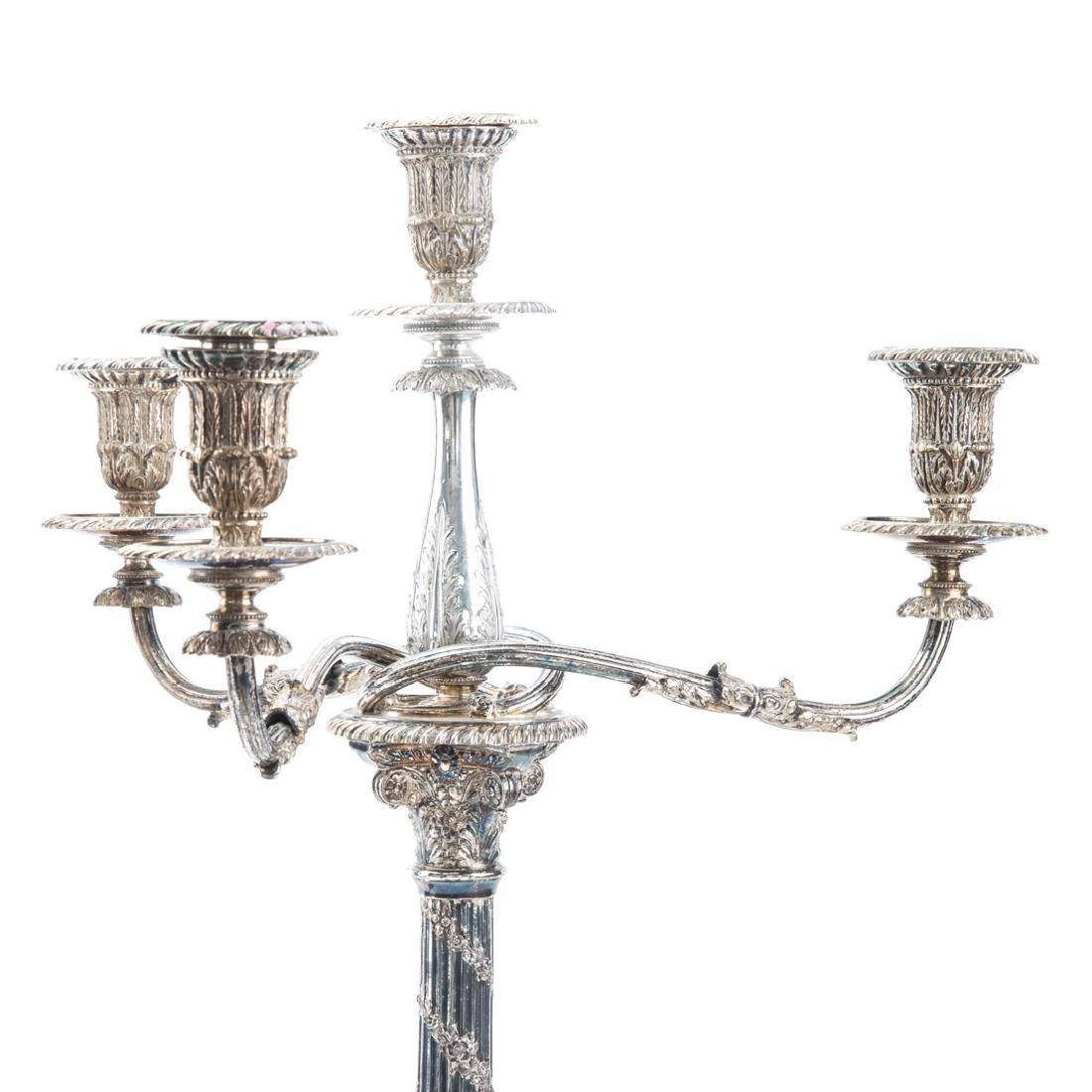 Pair Georgian style silver-plated candelabra - 2