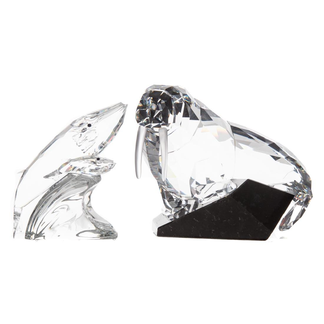 Swarovski crystal walrus and whale group