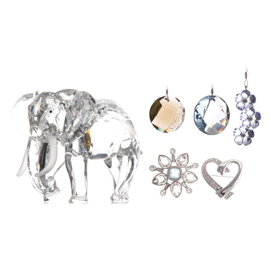 Swarovski crystal elephant and five jewelry pieces