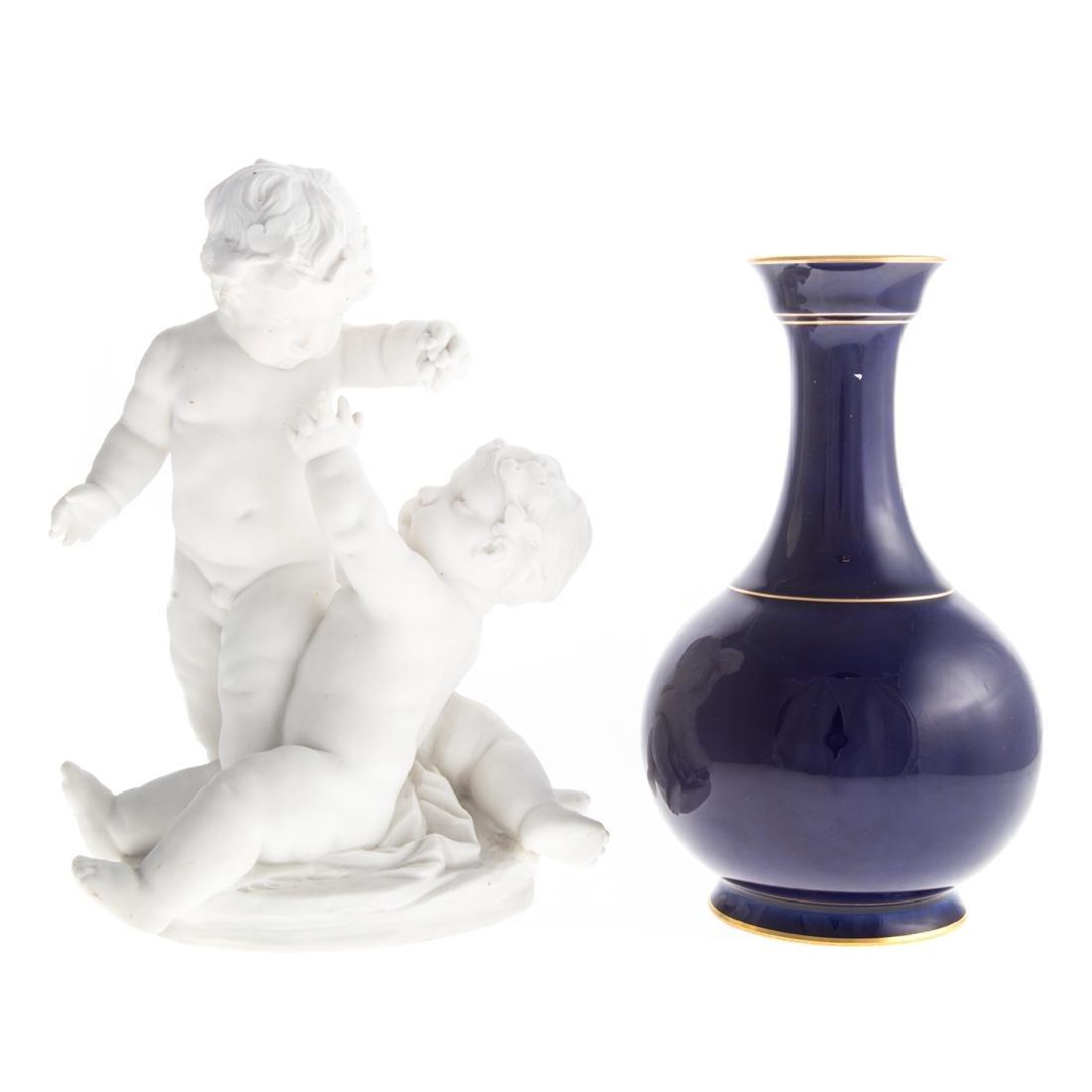Sevres porcelain vase and bisque group