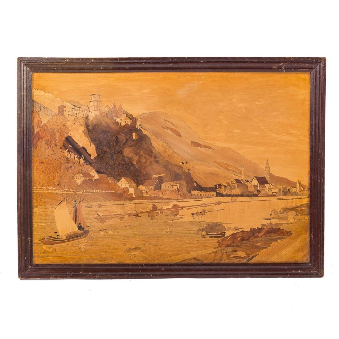 Italian marquetry inlaid landscape picture
