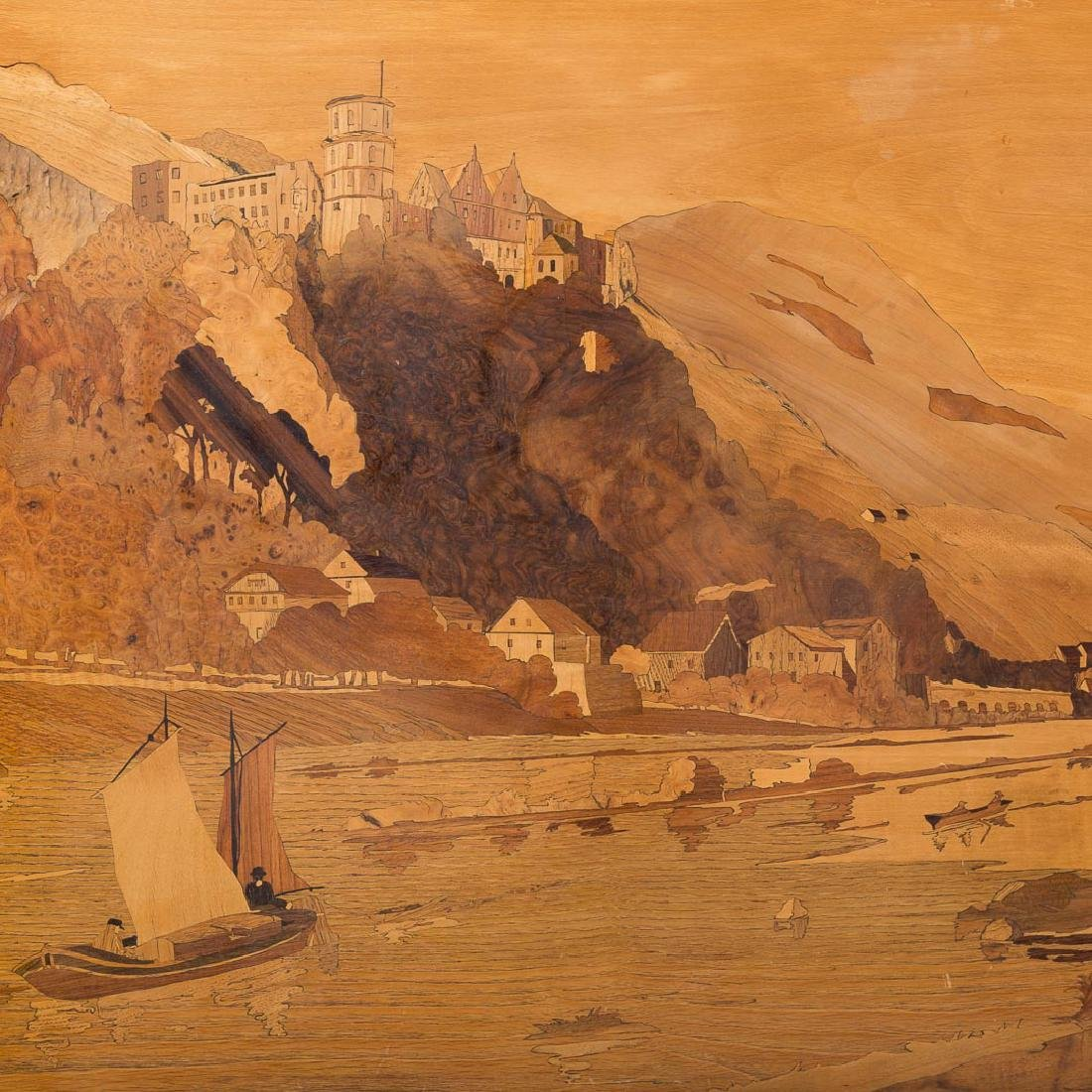 Italian marquetry inlaid landscape picture - 2