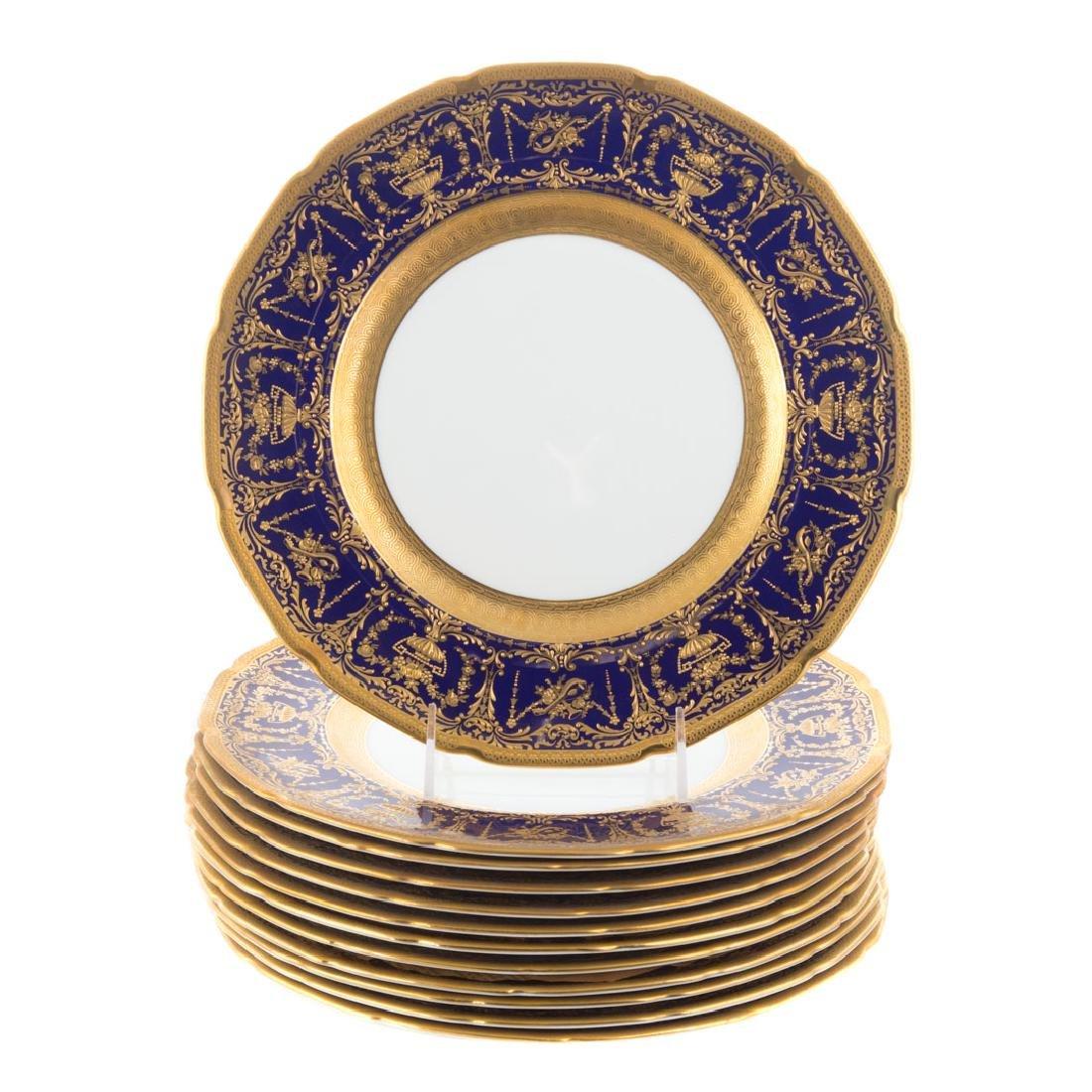 12 Royal Doulton cobalt banded cabinet plates