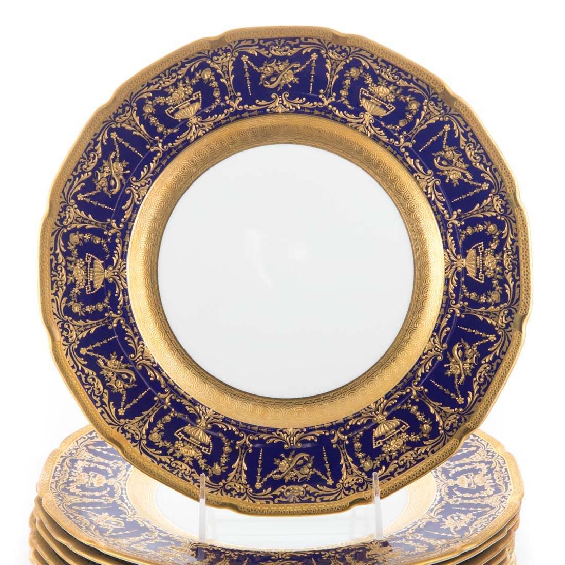 12 Royal Doulton cobalt banded cabinet plates - 2