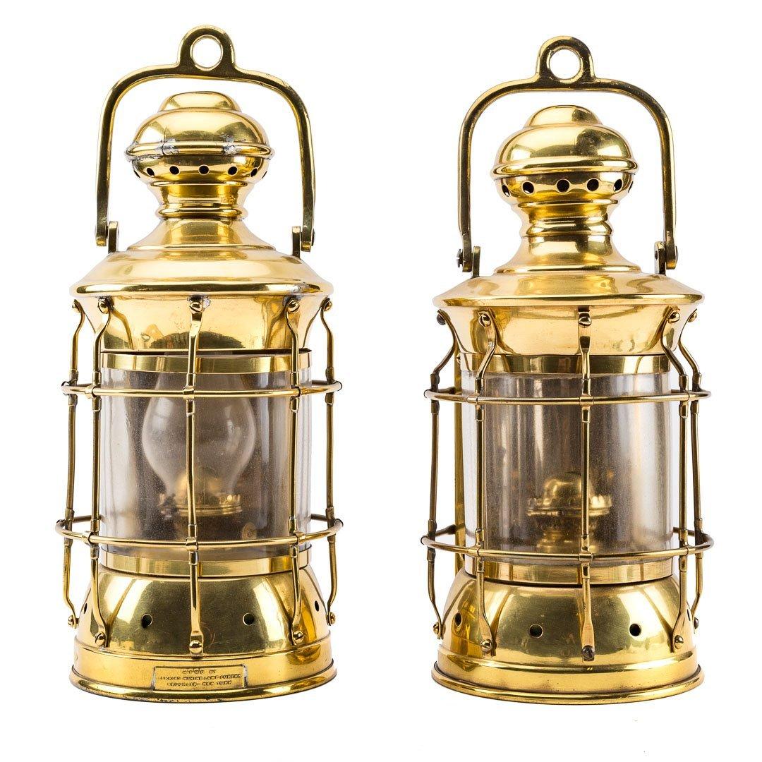 Pair Perkins brass marine oil lanterns