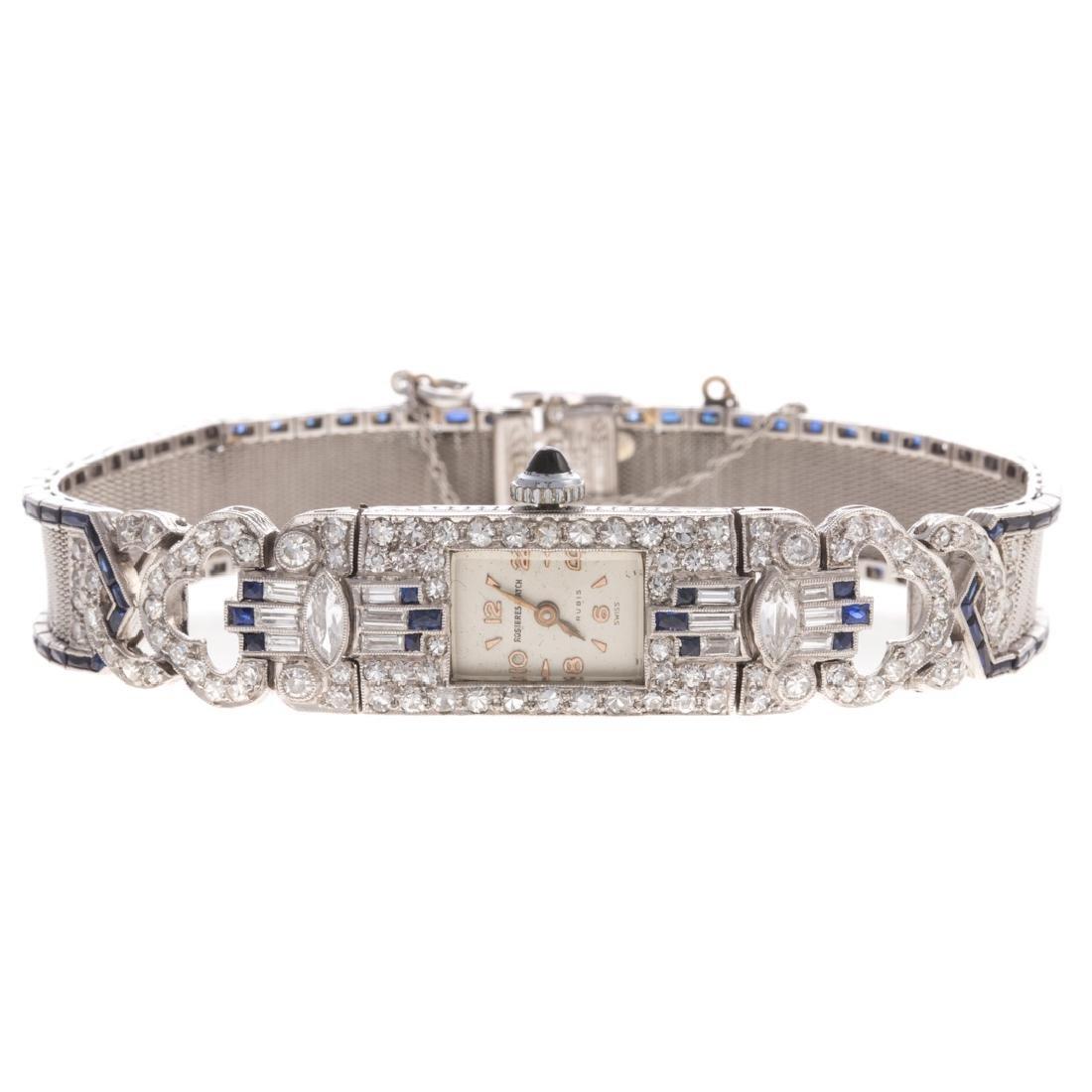 A Platinum Art Deco Diamond & Sapphire Dress Watch