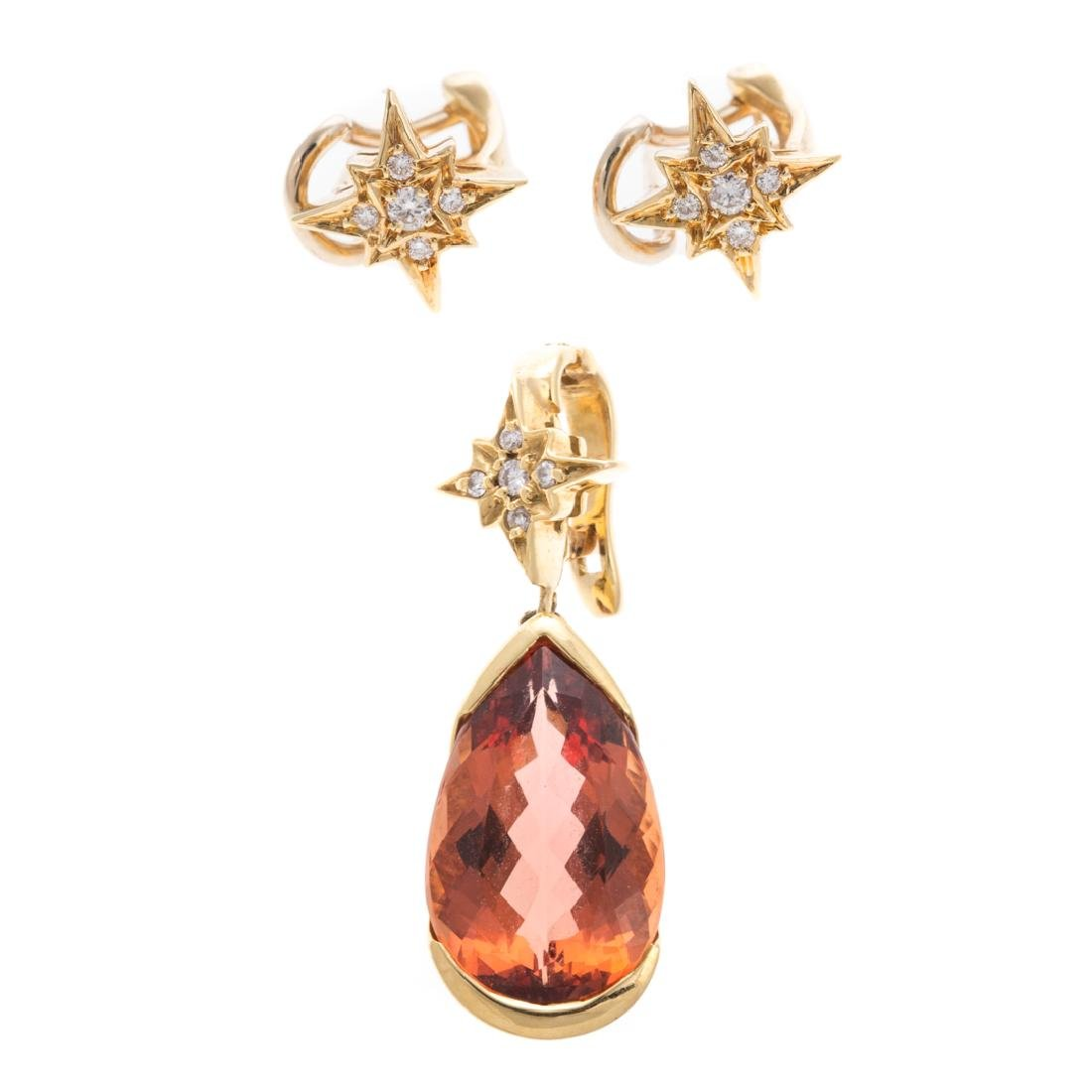 An Imperial Topaz Pendant & Earrings by H. Stern