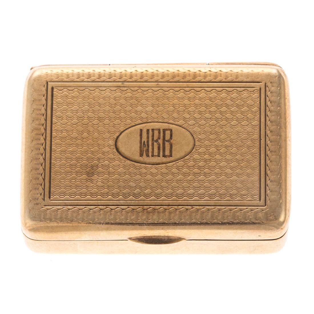 A Vintage 14K Yellow Gold Engraved Pill Box