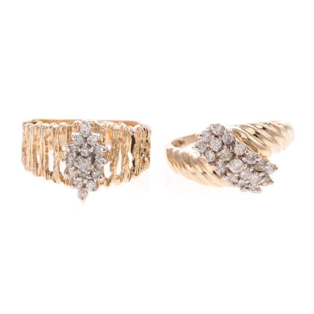 A Pair of Lady's 14K Diamond Cluster Rings