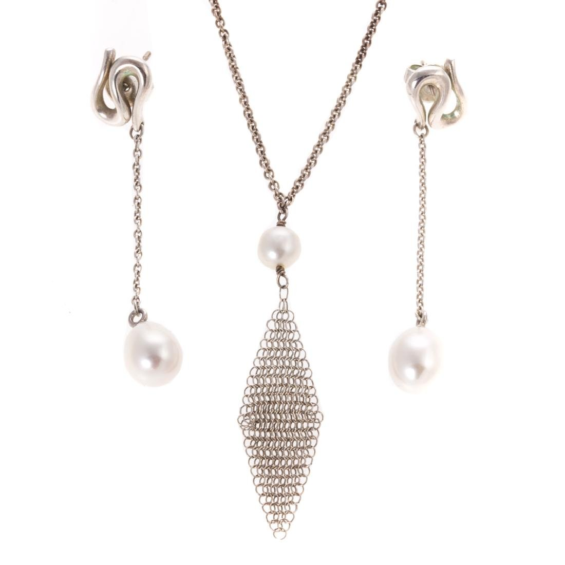 A Silver Pearl Earring & Necklace by Tiffany & Co
