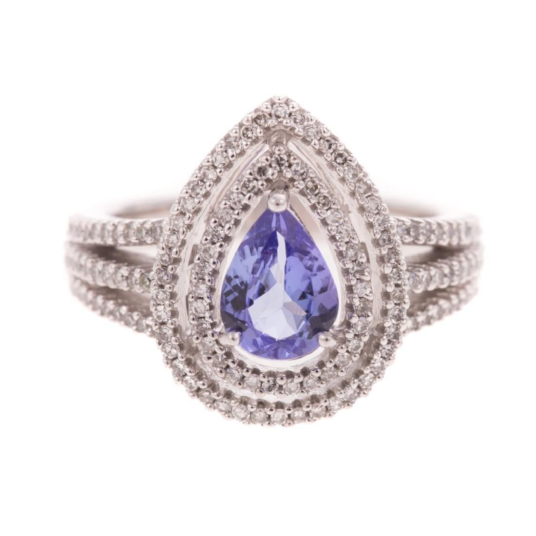 A Lady's Tanzanite and Diamond Ring 14K Gold
