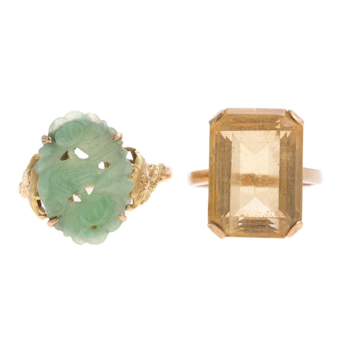 A Pair of Lady's Gemstone Rings in Gold