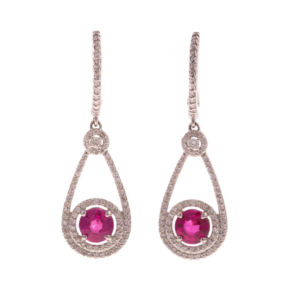 A Pair of Pink Sapphire & Diamond Drop Earrings