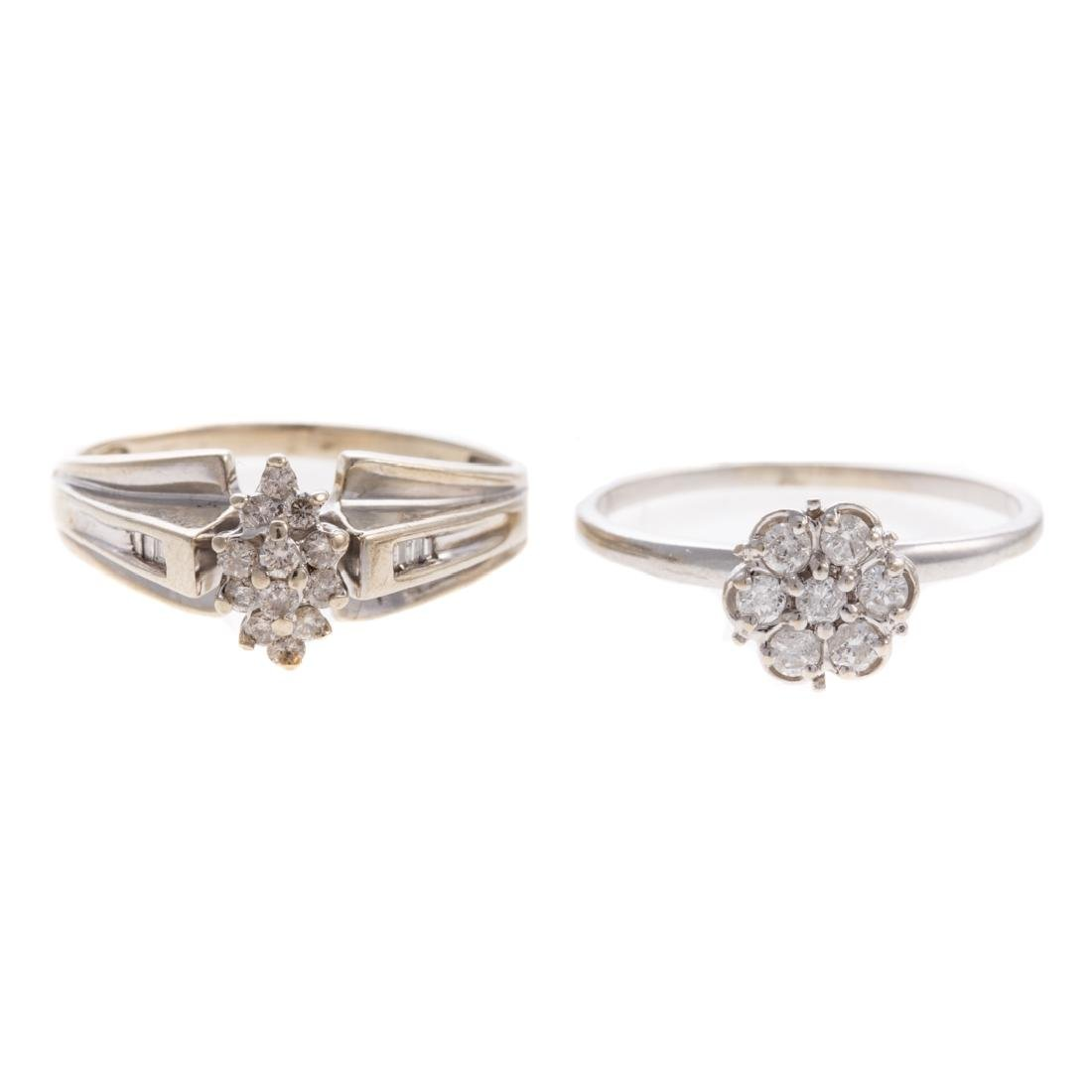 A Pair of White Gold Diamond Cluster Rings