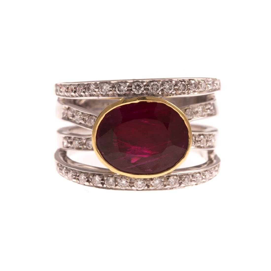 An 18K Wide Ruby & Diamond Band by Levian