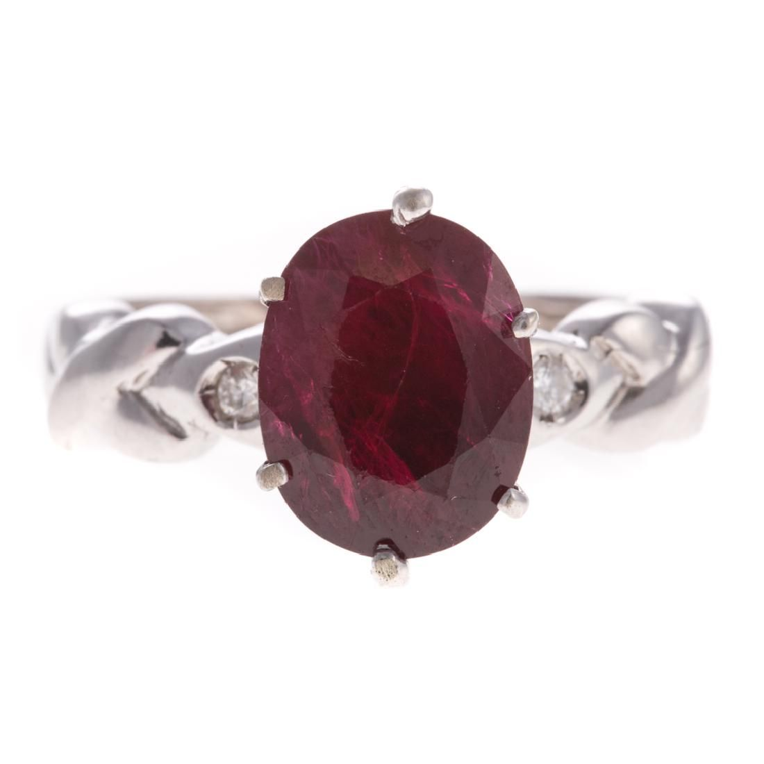 A Lady's Ruby and Diamond Ring in 18K Gold