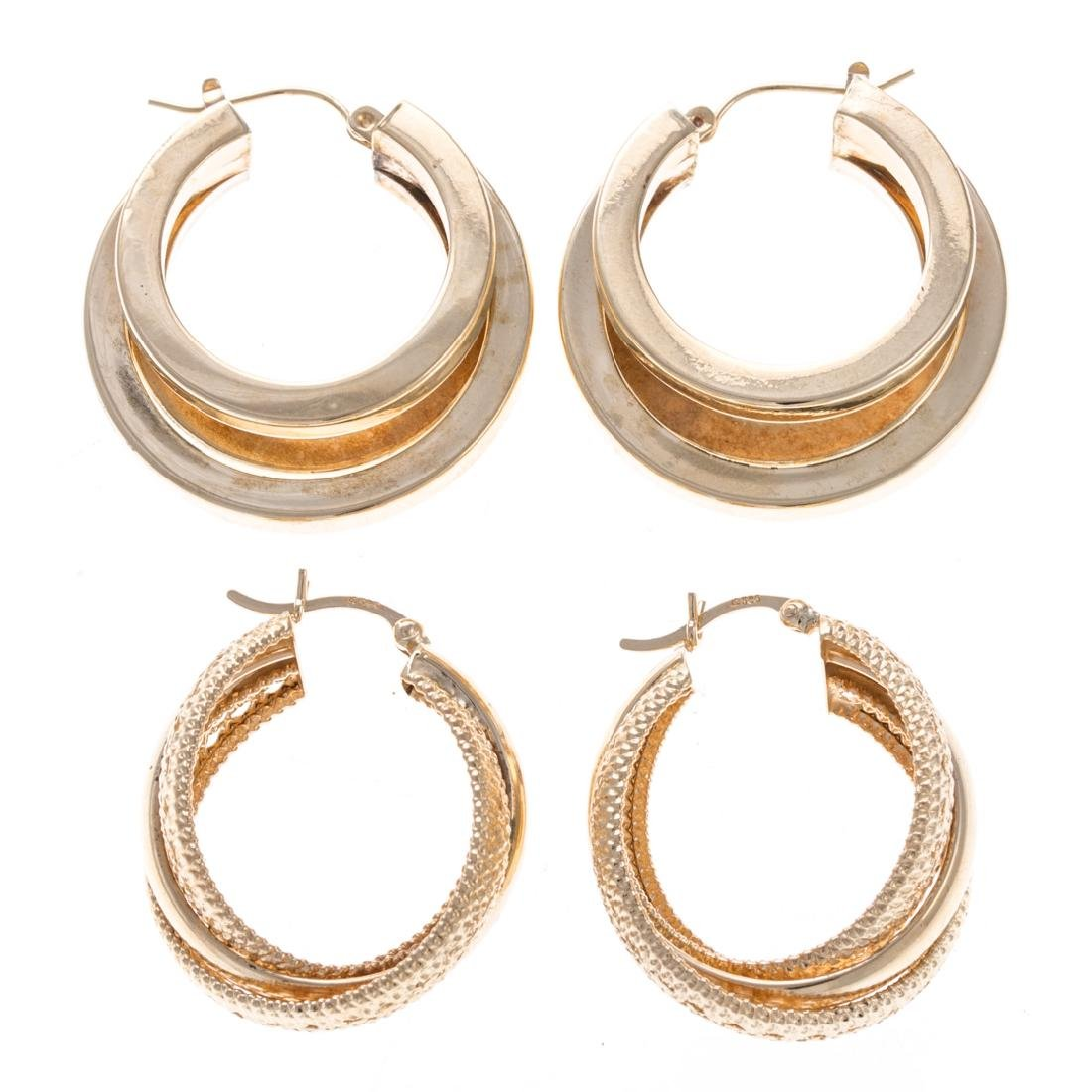 Two Pair of Lady's Wide 14K Hoop Earrings