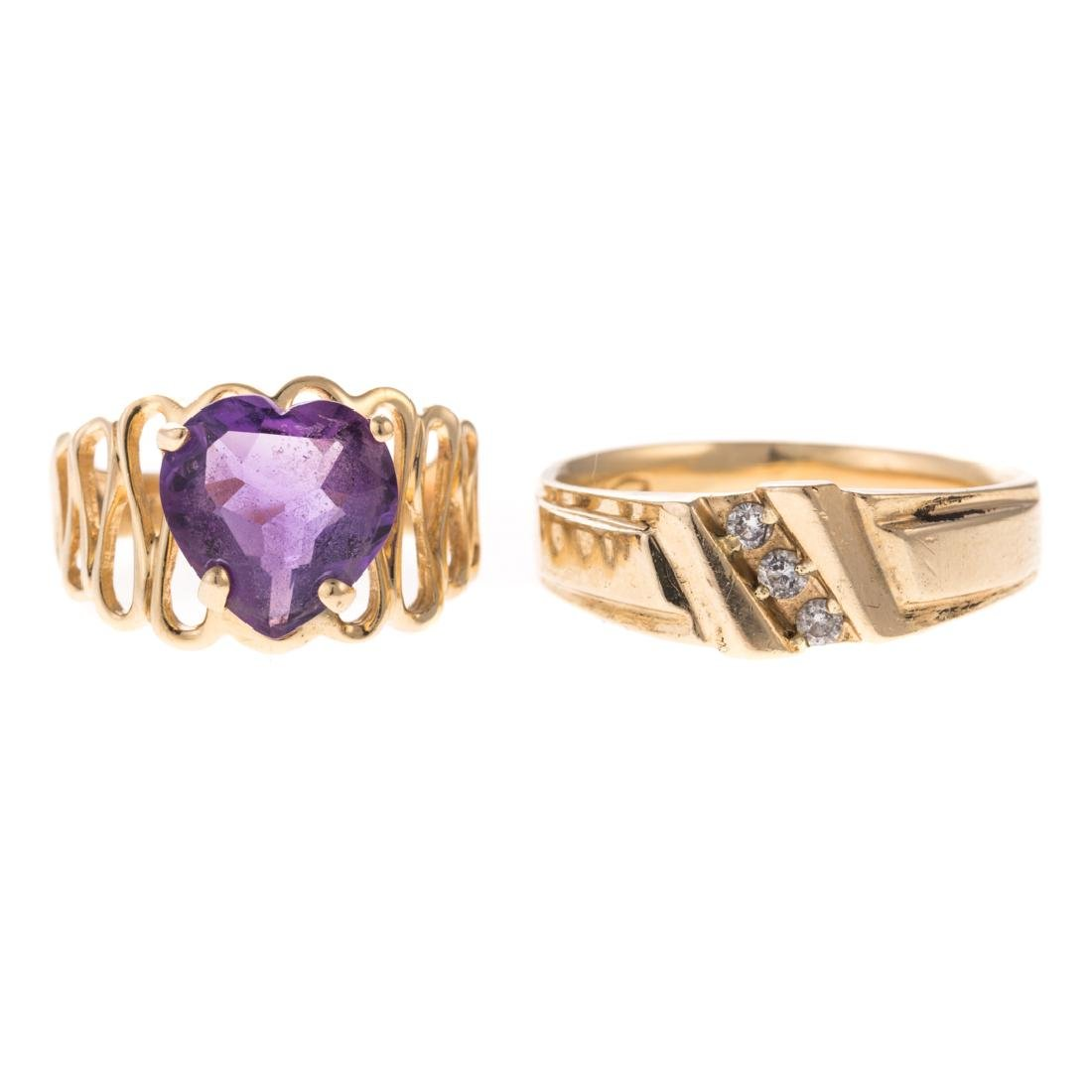 A Pair of Lady's Gemstone & Diamond Rings in Gold