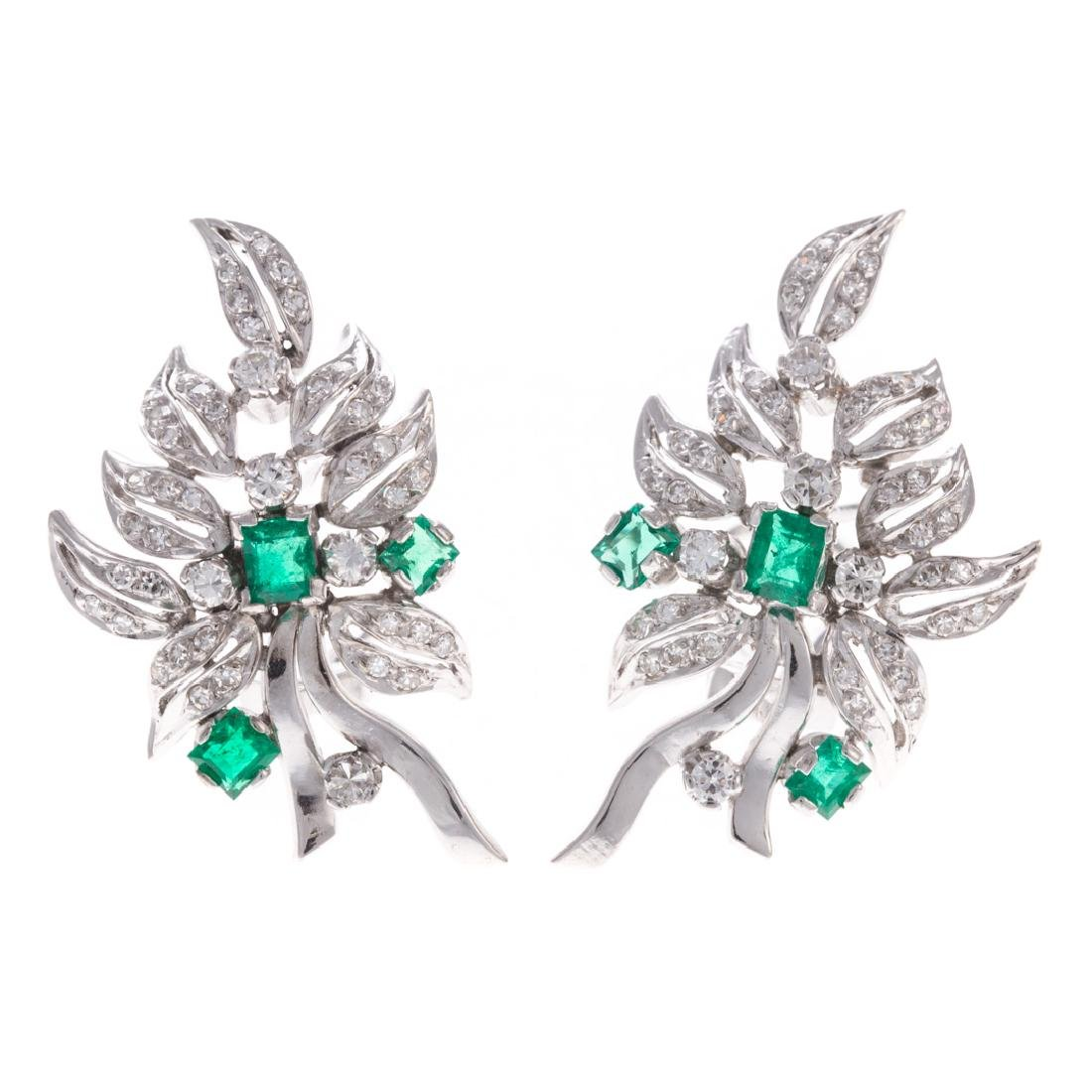 A Pair of Emerald and Diamond Earrings in 18K