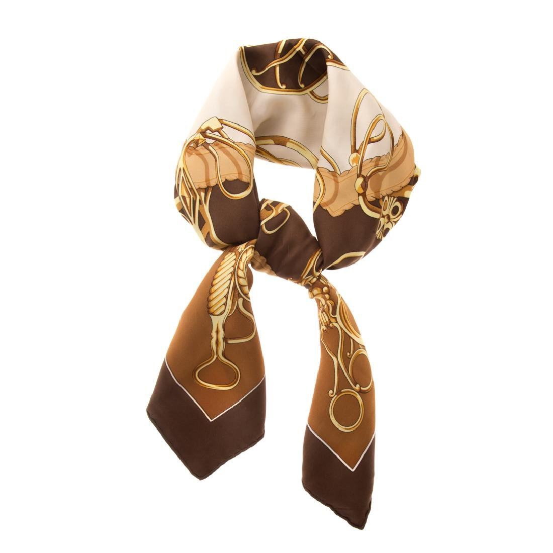 A Hermès Brown & Gold Scarf 90