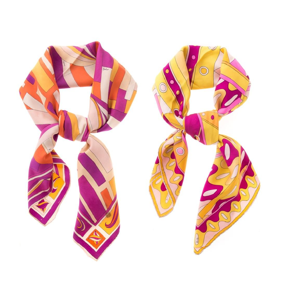 Two Emilio Pucci Printed Silk Scarves