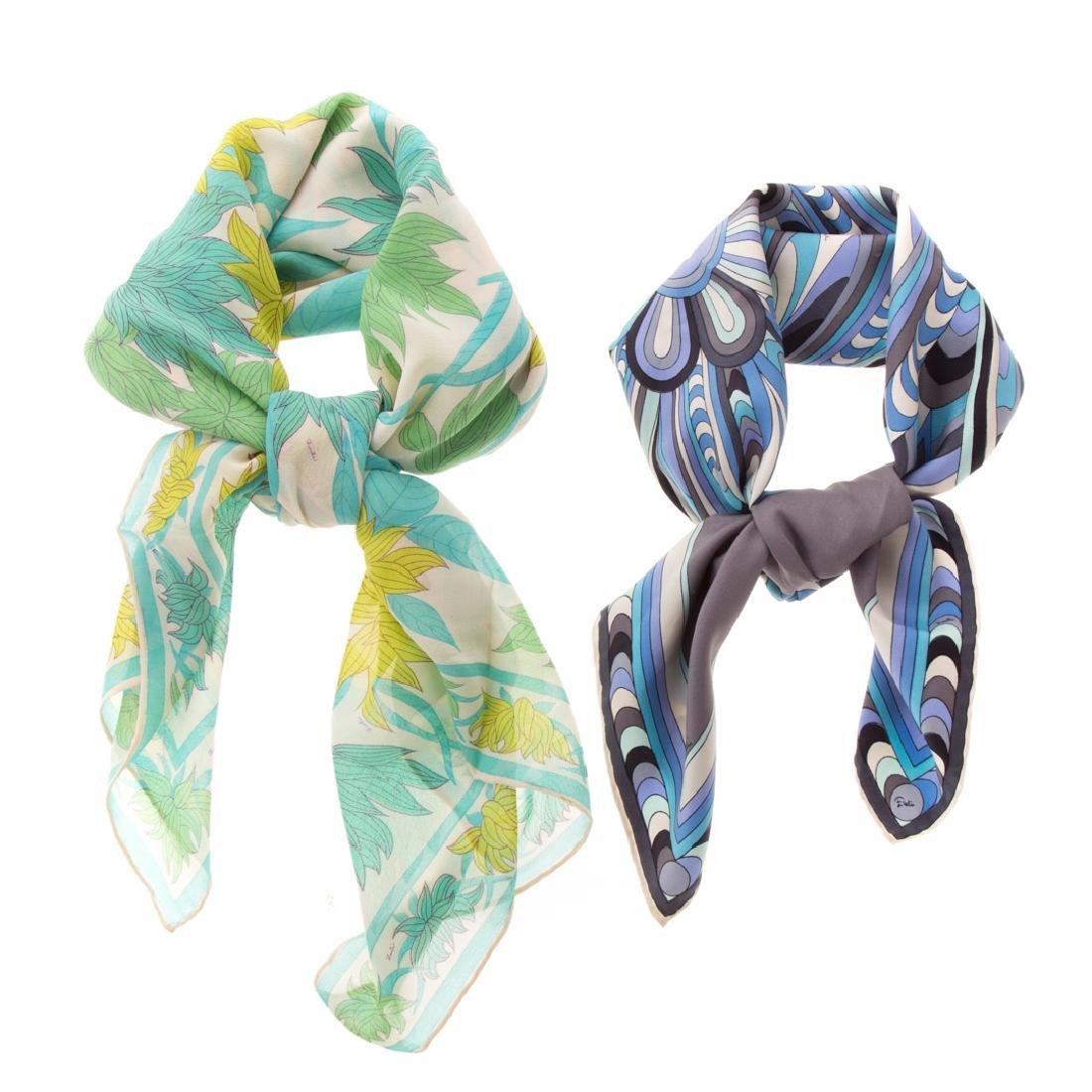 Two Emilio Pucci Silk & Silk Chiffon Scarves