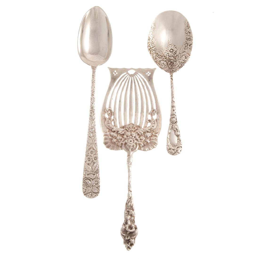 A Trio of silver serving pieces