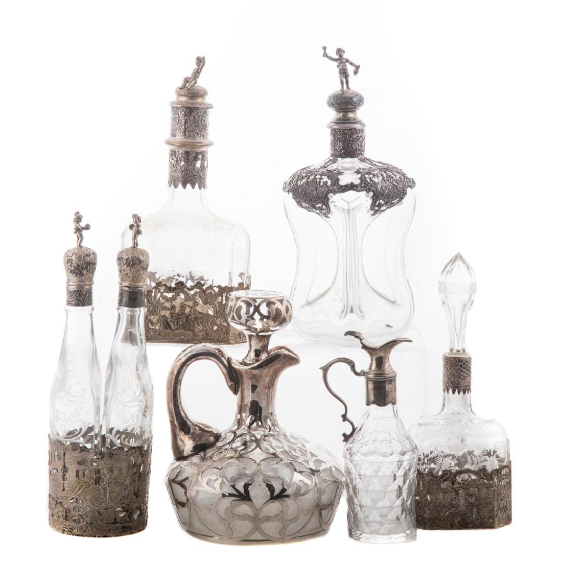 Collection of silver-mounted decanters