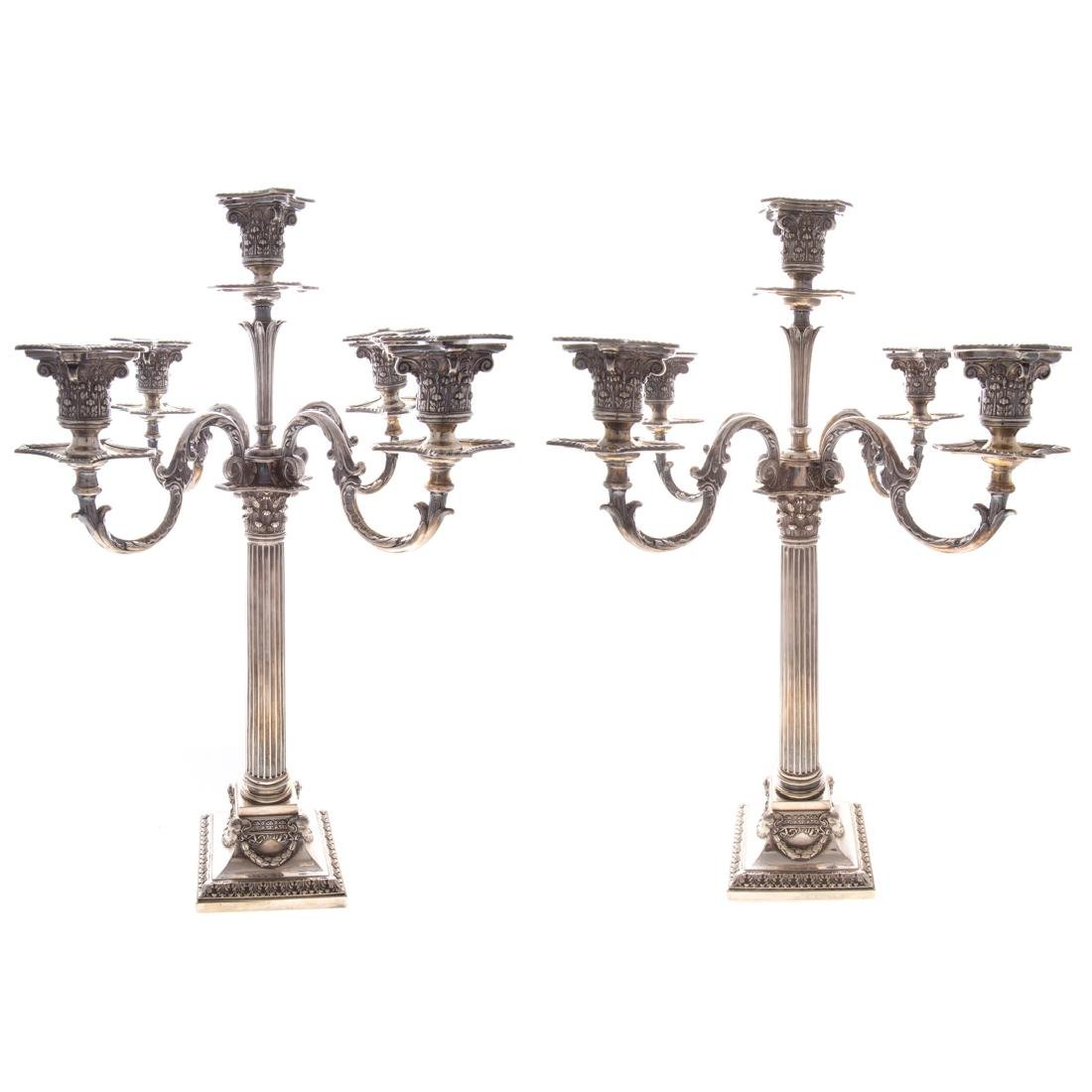 Pair Victorian silver plated candelabra