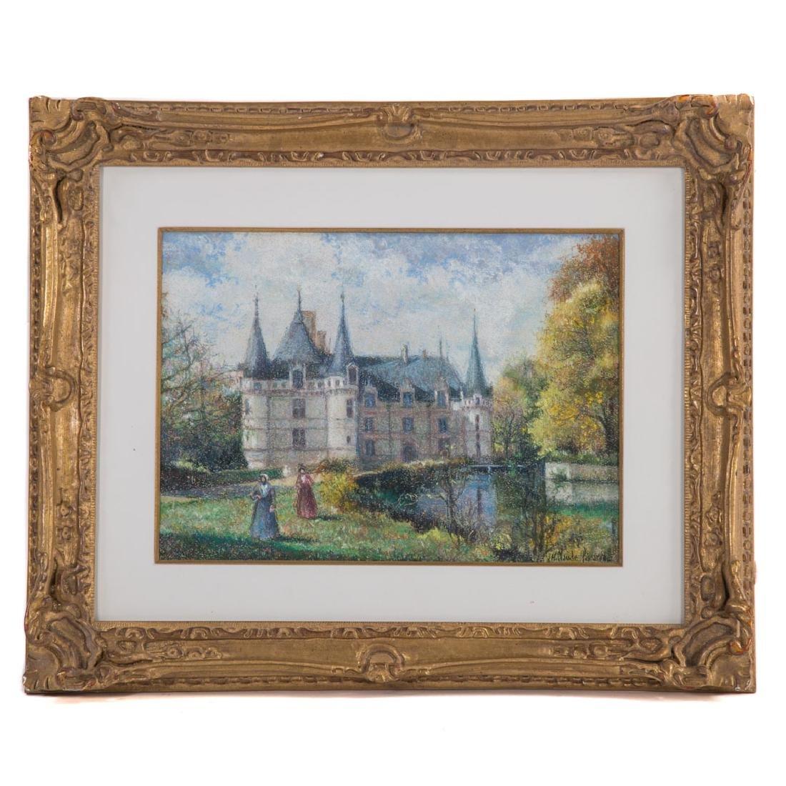 Hugues Claude Pissarro. Chateau w/ Figures, pastel