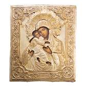 19th c Russian Icon of the Vladimir Mother of God