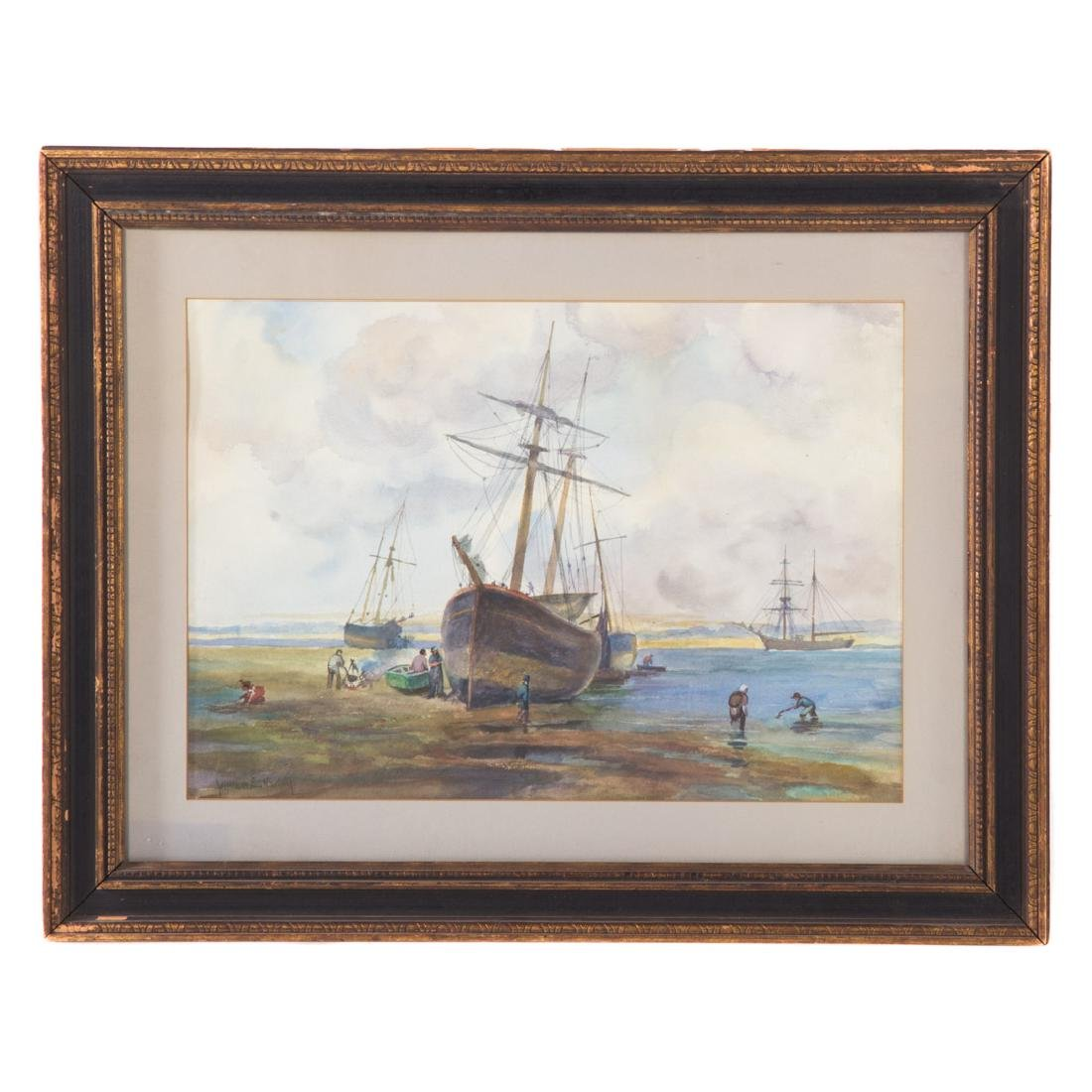 William Norton. Boats at Low Tide, watercolor