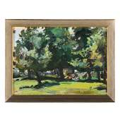 """Raoul Middleman. """"Tranquil Park,"""" oil on board"""