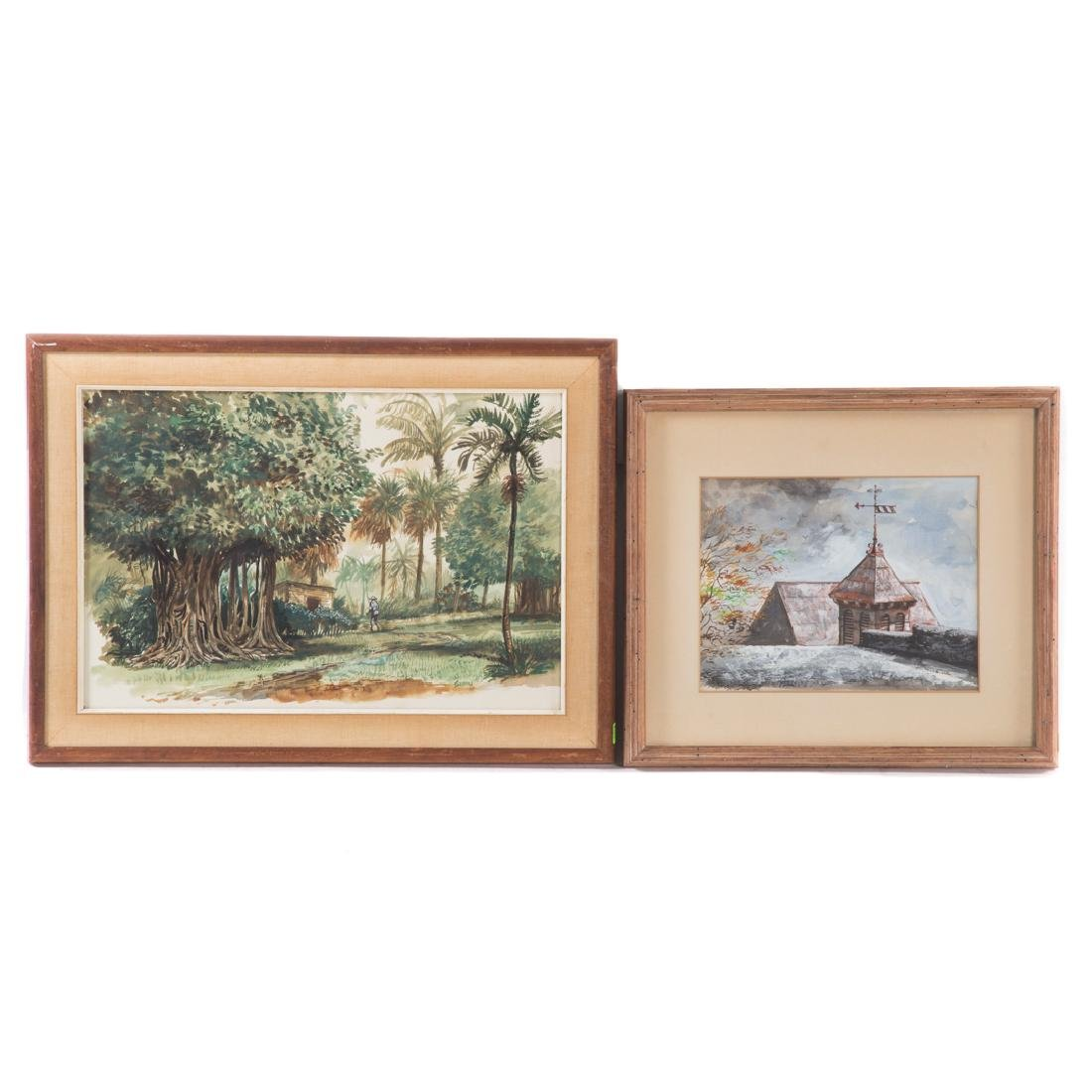 Joseph Sheppard. Two framed watercolors on paper