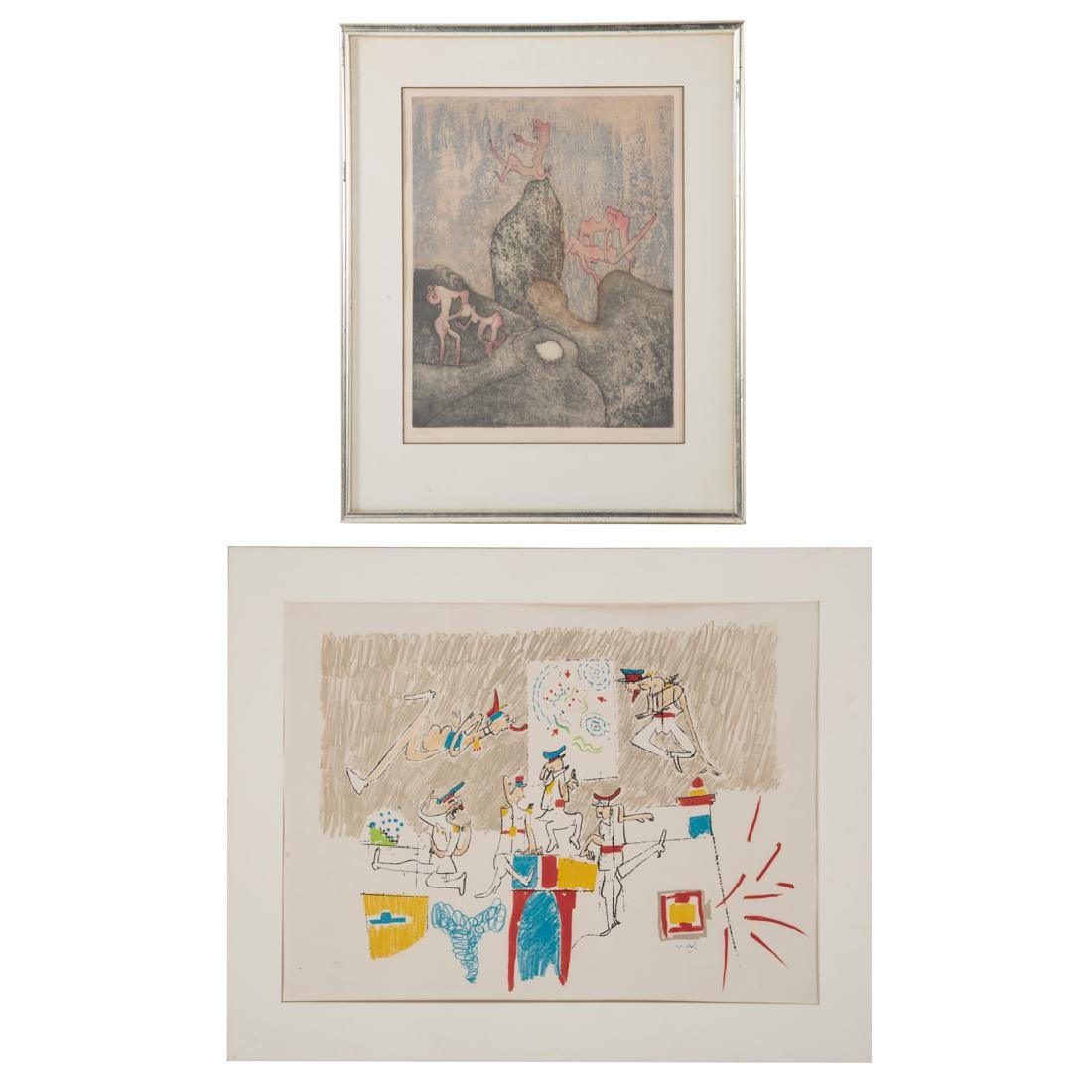 Roberto Matta. Two prints: etching and lithograph