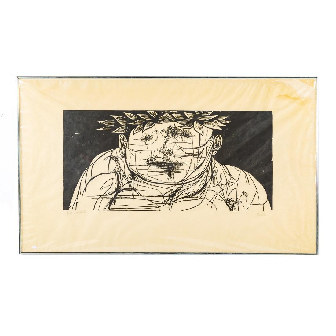 """Leonard Baskin. """"Poet Laureate"""", woodcut"""