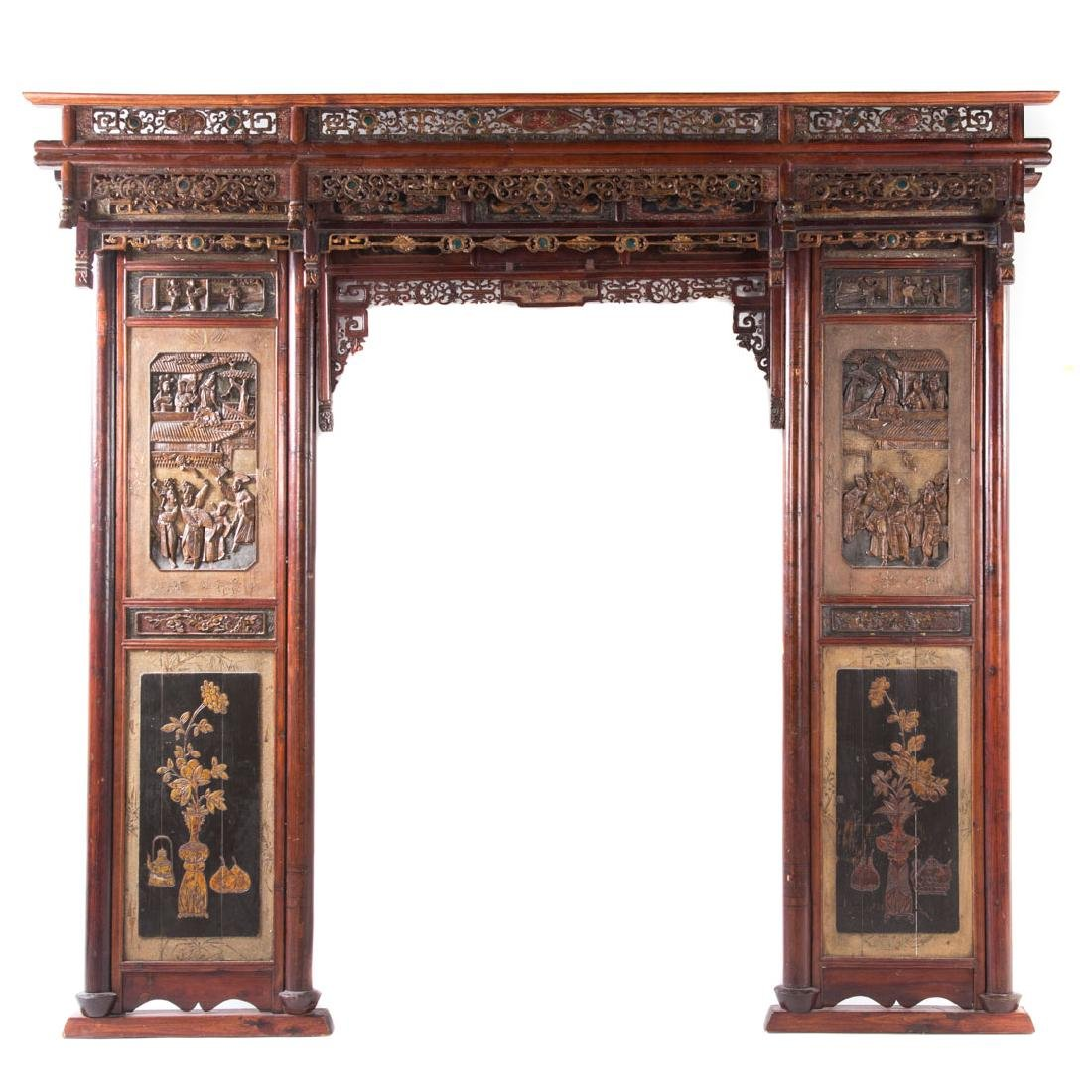 Chinese carved, painted, and gilt bedstead