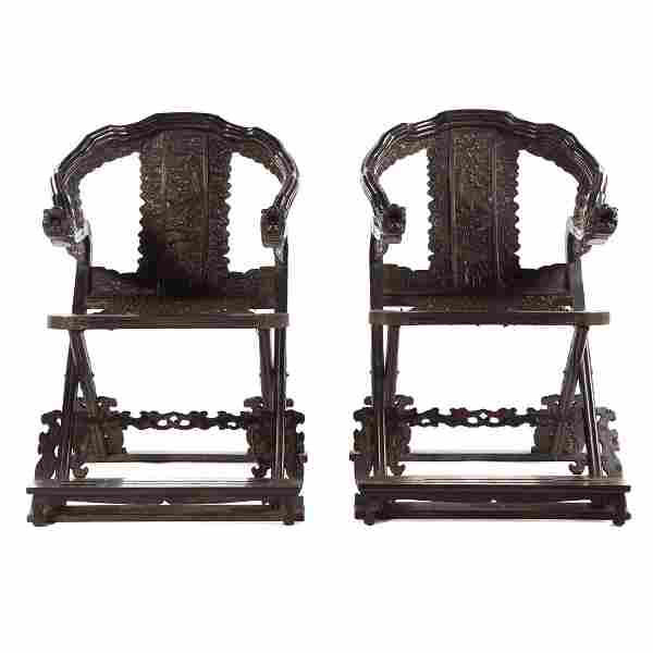 Pair Chinese carved Zitan Dragon chairs
