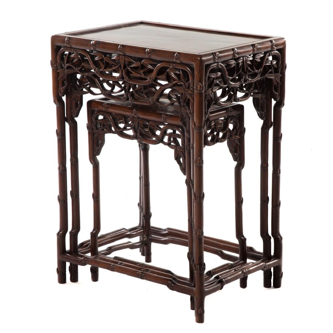 Chinese carved hongmu nesting tables