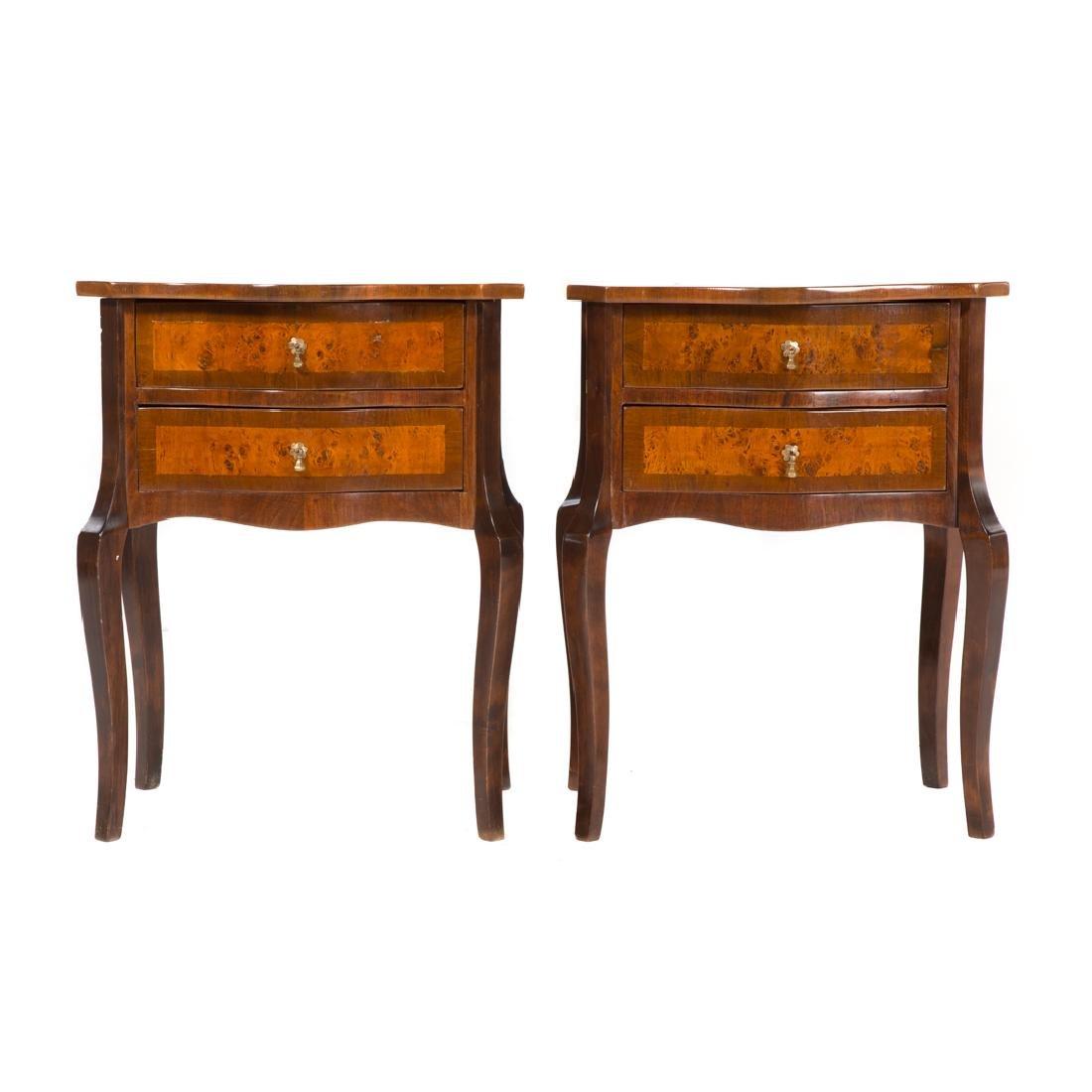 Pair German burl walnut side tables