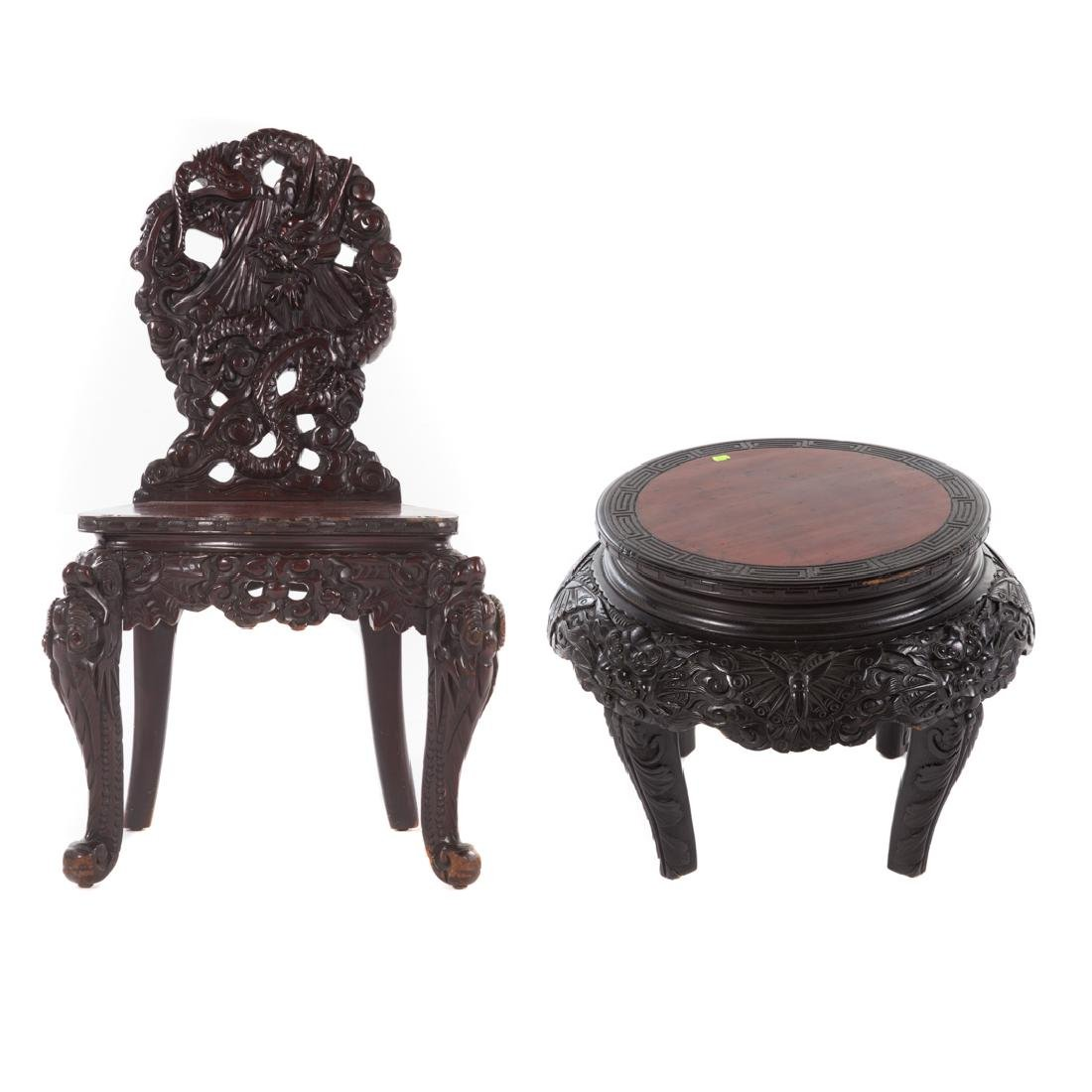 Chinese carved hardwood dragon side chair
