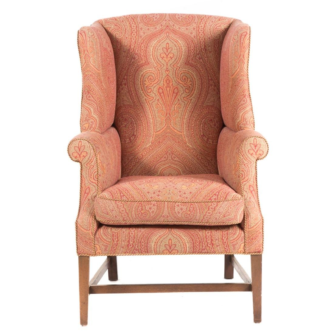 Federal style mahogany upholstered wing chair