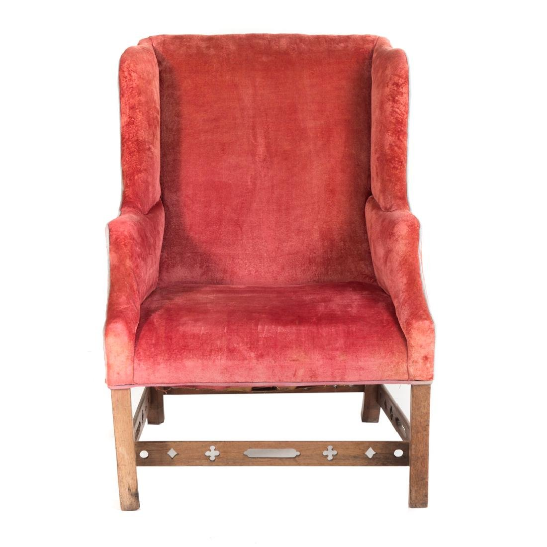 George III style mahogany upholstered wing chair